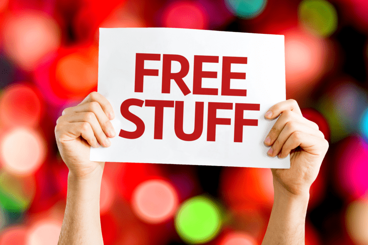 Free Stuff card with colorful background with defocused lights - GRINFER