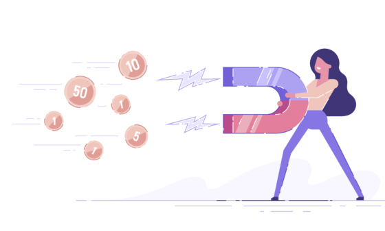 Money-making Strategies. Girl with big magnet in her hands and flying money. Illustration