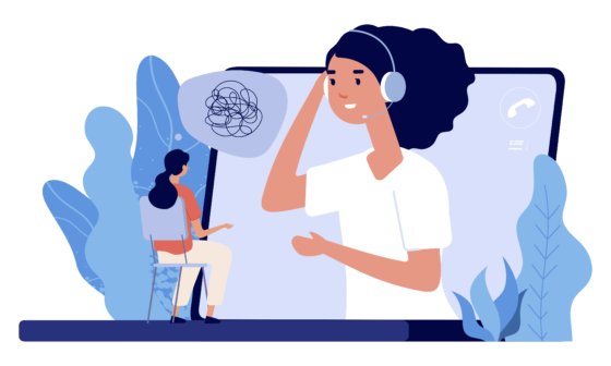 1-on-1 Consultations. Girl-learner and girl-teacher on online session with headphones. Illustration.
