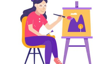 How To Paint With Watercolors. Girl in glasses painting hills. Illustration.