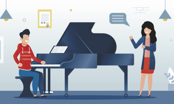 How to Teach Yourself Piano at Home. Music teacher and learner stay near piano
