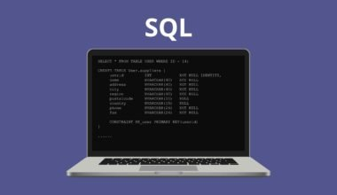 Learn SQL. SQL letters on dark laptop screen. Illustration