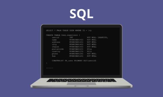 Learn SQL. SQL letters on dark laptop screen. Illustration