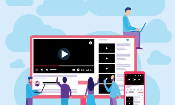 YouTube Marketing Guide. Group of learners learn how to use YouTube. Illustration