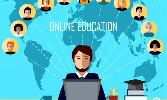 Top Mistakes Online Instructors Make. Online education - inscription under mans head, which looks into PC screen
