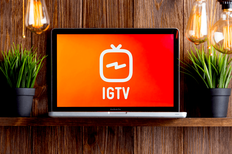 IGTV on the laptop screen isolated GRINFER