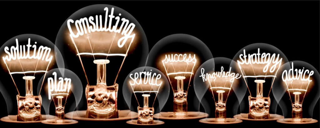 Light bulbs with shining fibers in a shape of CONSULTING Grinfer