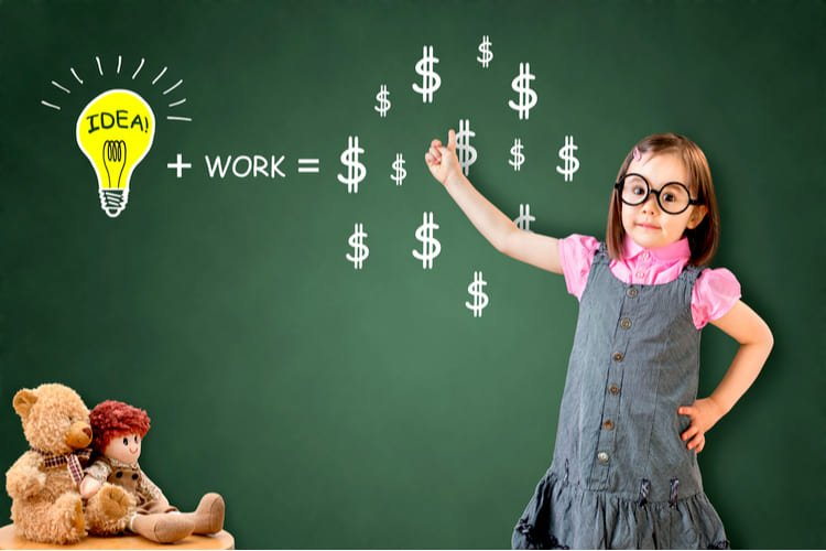 Idea and work can make lots of money equation show by cute little girl on green chalk board
