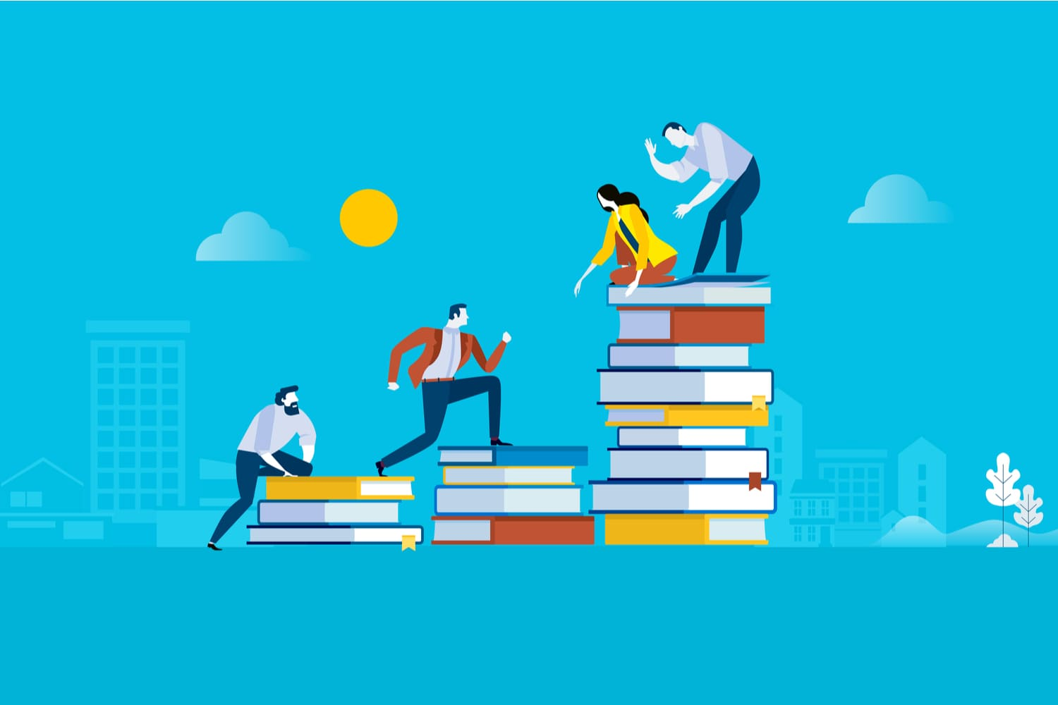 Flat design style web banner for the levels of education
