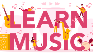 Learn music typographic header concept set