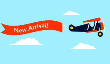 Retro styled plane with the ribbon and text new arrival