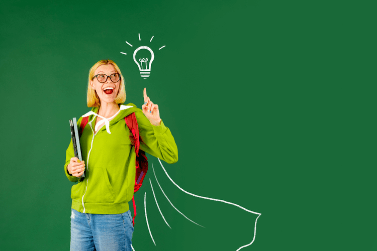woman teacher portrait on green wall background