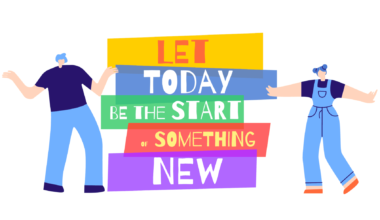 Let Today Be Start of Something New Text and People around