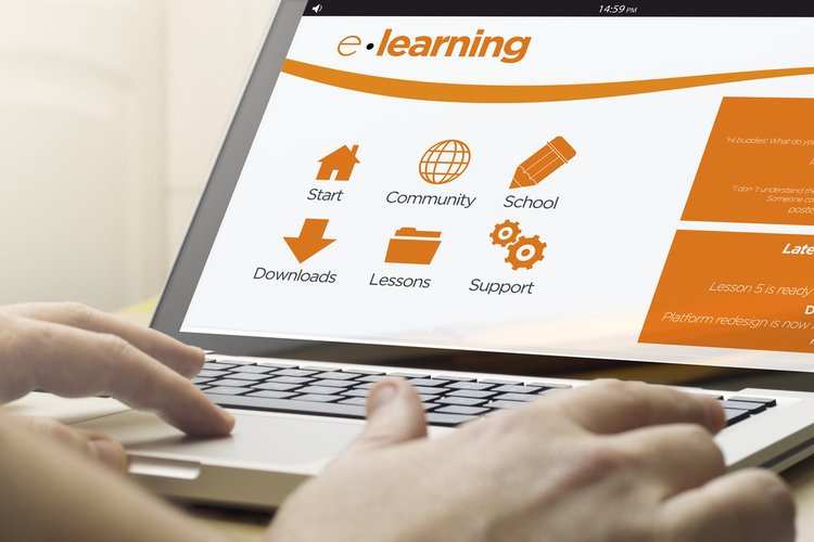 Laptop with text elearning on a screen