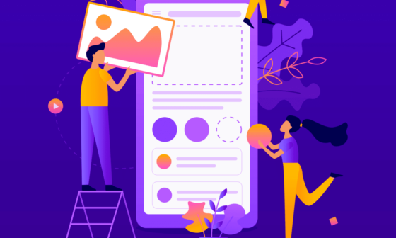 Team of developers construct mobile app - UI design