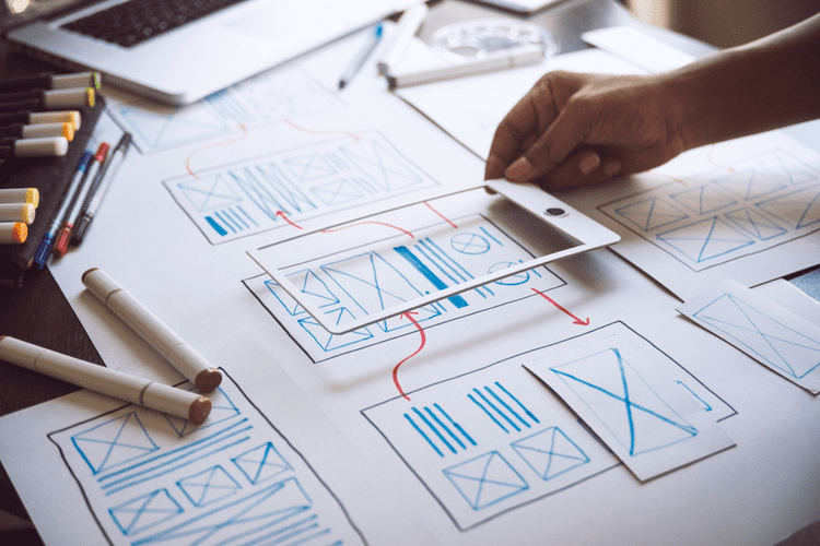 ux Graphic designer creative sketch planning application process development prototype wireframe