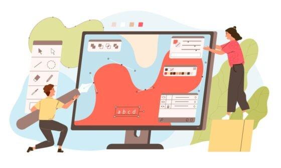 Cute digital designers or illustrators working together on giant computer display