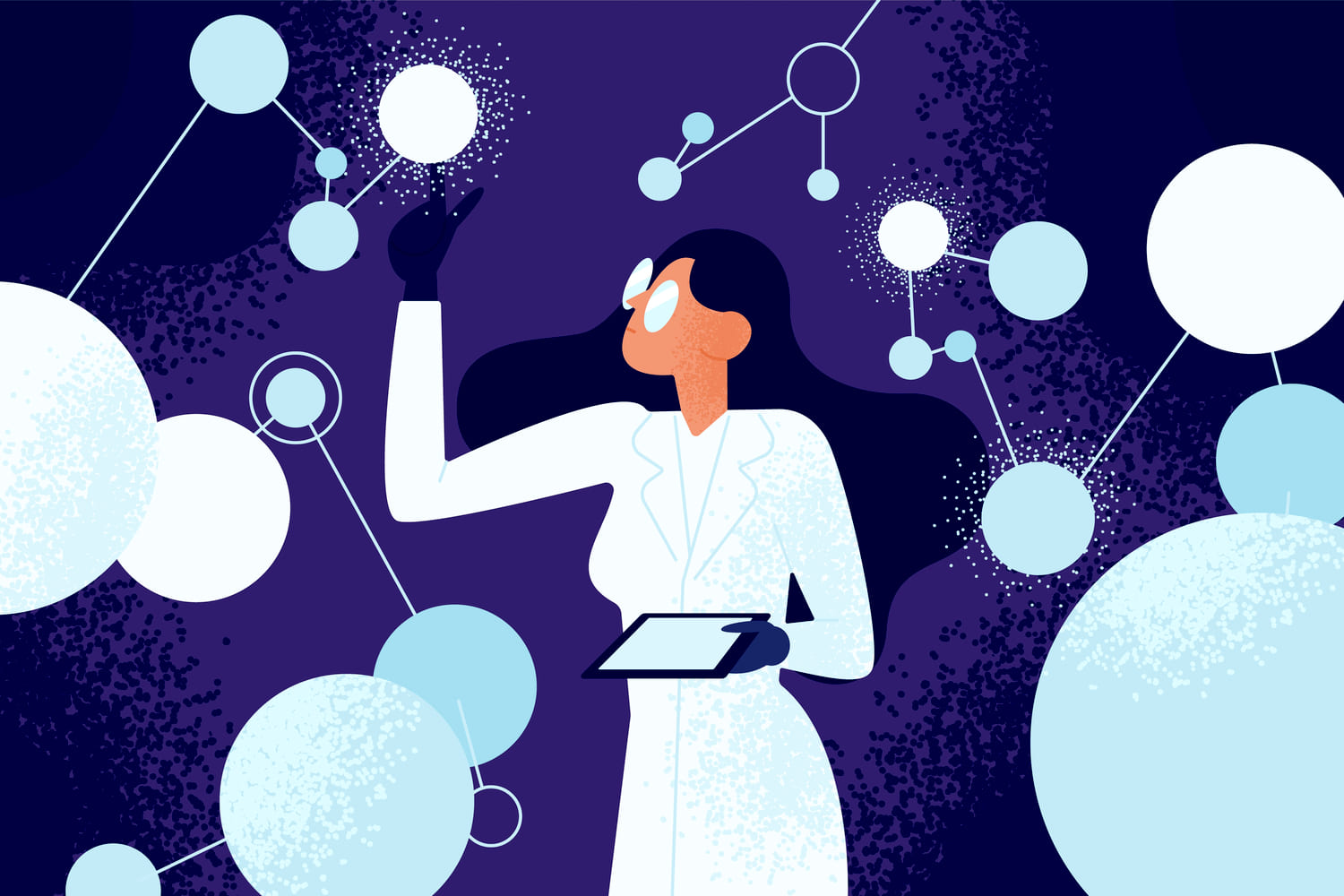 Female scientist in lab coat checking artificial neurons connected into neural network