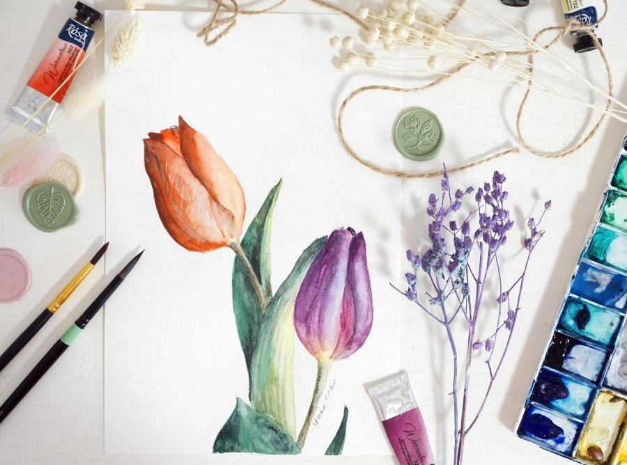 Paint Tulips in Watercolor