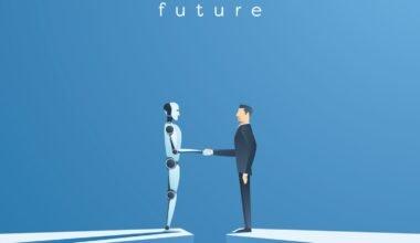 ai robot handshake with human