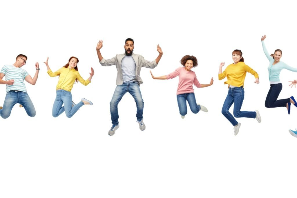 international group of happy smiling men and women jumping over white background