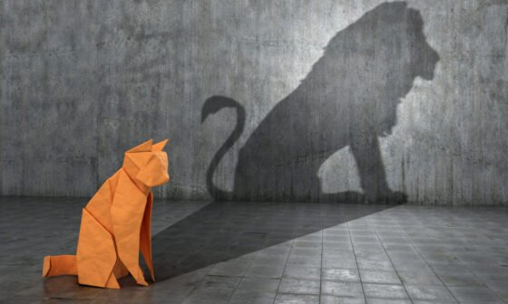 A paper figure of a cat that fills the shadow of a lion
